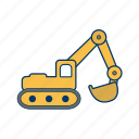 construction, excavator, machinery icon