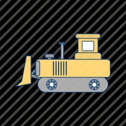 bull dozer, construction, heavy machinery, machine icon
