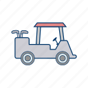 electric, golf car, golf cart, transport icon