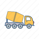 concrete mixer, construction, heavy, machine, trailer, truck, work icon