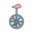acrobat, circus, uni cycle icon