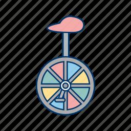 acrobat, circus, uni cycle, wheel icon