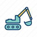 excavator, machinery, work icon