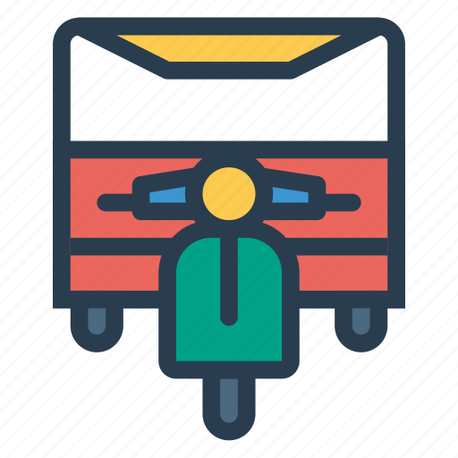 cycle, motor, rickshaw icon