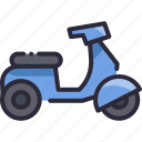 bike, moped, motorcycle, scooter, transport icon