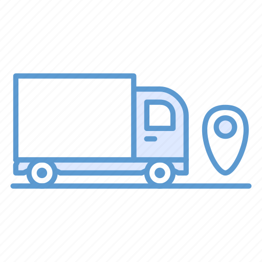cargo, delivery, lorry, marker, pin, transportation, truck icon