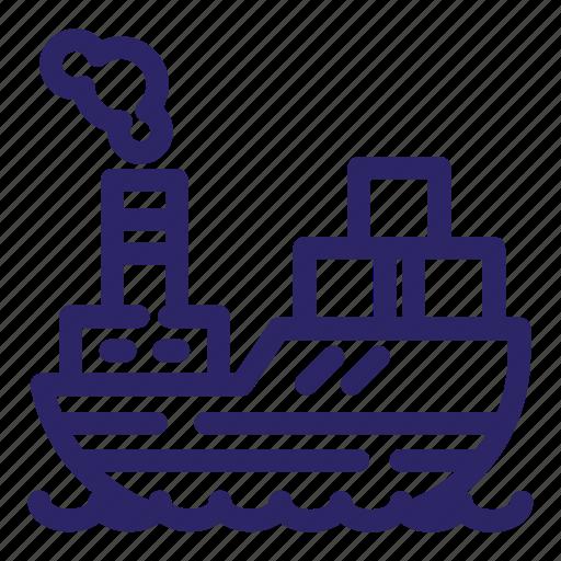 boat, cargo, sea, ship, shipping, transport, transportation icon