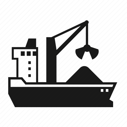 bulk, cargo, coal, dry, sand, ship, transportation icon