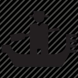 gondola, gondolier, italy, tourism, transport, travel, venice icon