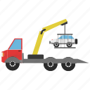 car, construction, crane, shadow, truck icon