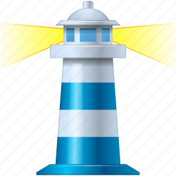 blue, control, goal, guide, home, house, light, light house, light-house, lighthouse, marine, maritime, nautical, place, pointer, sea, ship, shipping, target, torch, tower, travel icon