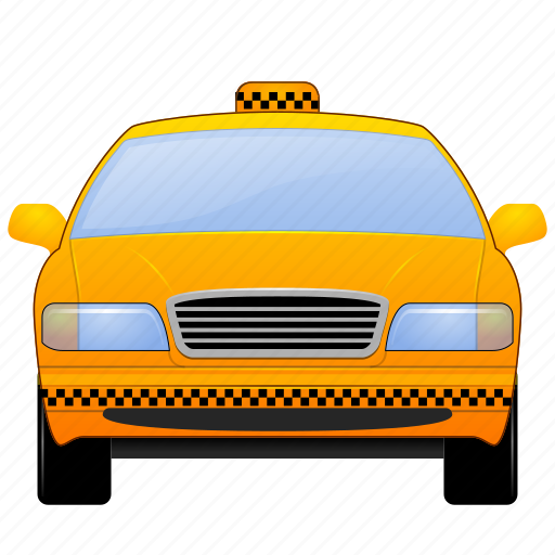 auto, cab, car, driver, fare, front view, public, ride, sedan, service, taxi, transit, transportation, travel, urban, vacation, vehicle icon