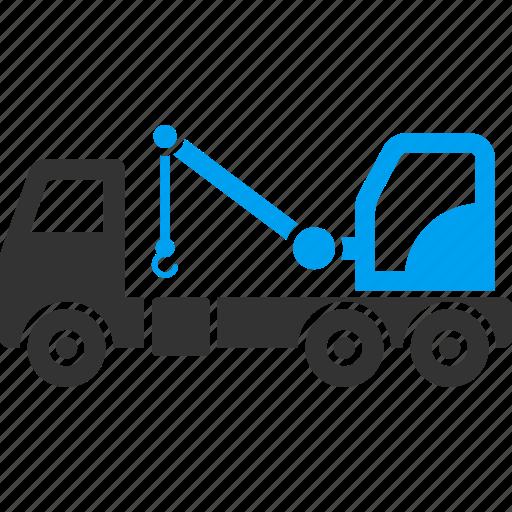 auto service, automobile, crane, evacuator, tow truck, transportation, wrecker icon