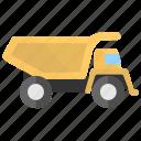 construction truck, construction vehicle, dump truck, dump vehicle, trash transport icon
