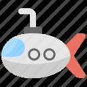 cartoon submarine, defense vessel, submarine, travel, underwater vehicle icon