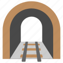 light at end, train track, train tunnel, tunnel, underground railway line icon