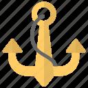 anchor, boat anchor, nautical, navigational tool, ship anchor icon