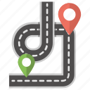 location finder, pathway map, road map, road pointer, road tracking icon