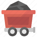 coal cart, coal transport, coal truck, manual vehicle, mining cart icon