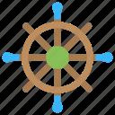 marine hardware, ship helm, ship rudder, ship steering, ship wheel icon