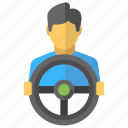 bus driver, car steering, chauffeur, driving, vehicle driving icon