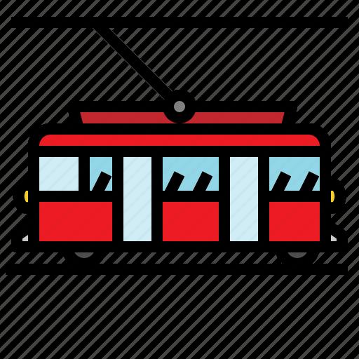 streetcar, tram, tramcar, tramway, transportation, trolley icon