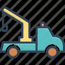 carrier, crane, tow, tow truck, transportation, truck