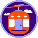 cable car, sky, technology, transport, transportation, travel, trip icon
