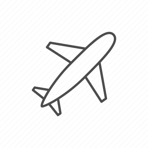 airplane, line, plane, transport icon