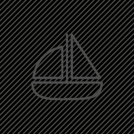 boat, line, transport icon