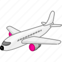 aeroplane, aircraft, airplane, flight, plain, transport, transportation icon