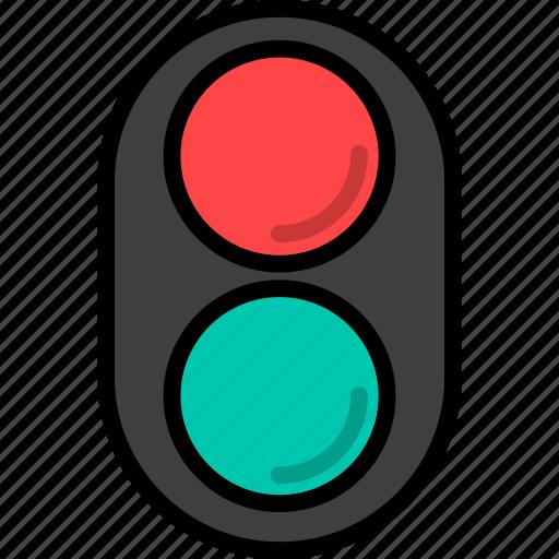road, traffic, traffic light, transport, transportation icon