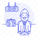 air, airport, baggage, flight, luggage, male, passenger, passengers, terminal, transportation, travel icon