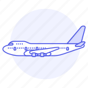 aeroplane, air, aircrafts, airplane, aviation, fixed, flight, plane, sky, transportation, wing icon