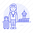 air, airport, baggage, female, luggage, passenger, passengers, transportation, travel icon