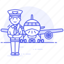 aeroplane, airplane, airport, aviation, captain, female, pilot, pilots, plane, transportation, with