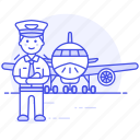 aeroplane, airplane, airport, aviation, captain, male, pilot, pilots, plane, transportation, with