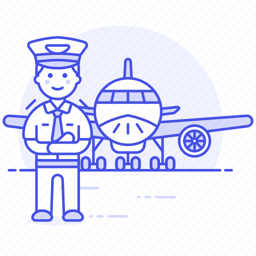 aeroplane, airplane, airport, aviation, captain, male, pilot, pilots, plane, transportation, with icon