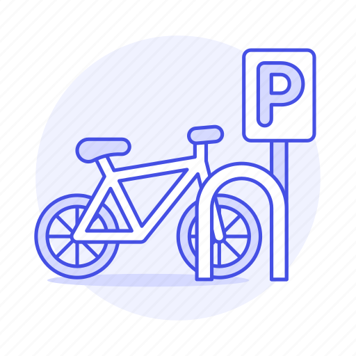 bicycle, bike, land, outdoors, park, parking, road, sign, street, symbol, transportation icon
