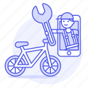 app, bicycle, bike, land, male, mechanic, phone, repair, road, service, transportation