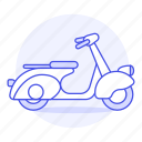blue, land, light, motor, motorbike, motorcycle, road, scooter, transportation, vespa icon