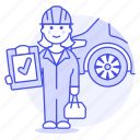 car, check, female, maintenance, mechanic, motor, repair, service, transportation icon
