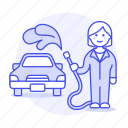 car, cleaning, female, hose, maintenance, service, transport, transportation, vehicle, wash icon