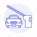 barrier, car, control, garage, gate, lot, parking, road, security, traffic, transportation, vehicle