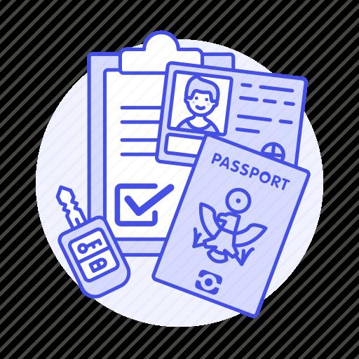 1, car, driving, form, key, license, male, passport, registration, retal, road, transportation, validation icon