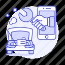 app, car, damage, engine, hand, mechanic, phone, repair, road, service, smoke, transportation