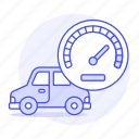 car, dashboard, features, gauge, road, speed, status, transportation icon