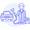 1, car, clean, cleaning, maintenance, man, service, transport, transportation, vacuum icon
