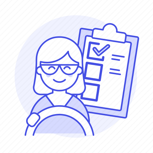 car, checklist, driver, driving, female, lessons, practice, steering, test, transportation icon