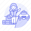 a, baggage, cab, customer, female, hail, journey, land, luggage, street, taxi, transportation, trip